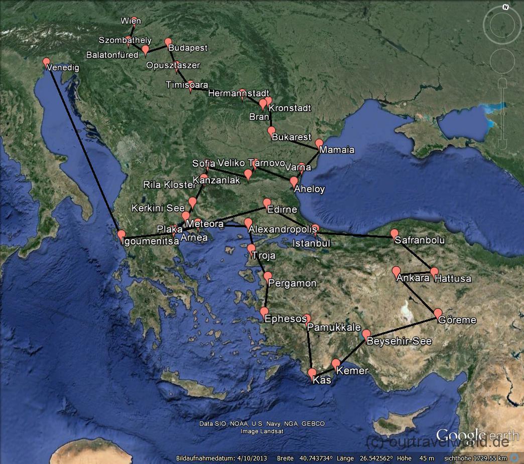 Reiseroute Südosteuropa und Türkei